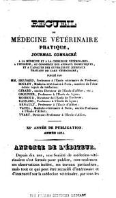 Recueil de médecine vétérinaire: Volume11