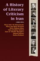 A History of Literary Criticism in Iran  1866 1951 PDF