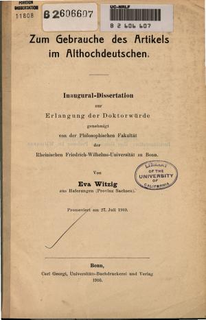 Zum Gebrauche des Artikels im Althochdeutschen