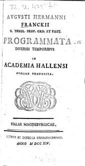 Programmata diversis temporibus: in academia Hallensi publice proposita