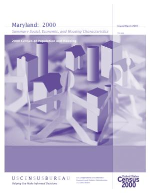 Census of population and housing  2000   Maryland Summary Social  Economic  and Housing Characteristics PDF