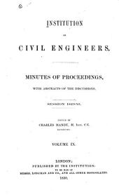 Minutes of Proceedings of the Institution of Civil Engineers: Volume 9
