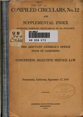 Concerning Selective Service Law ...: September 17, 1918
