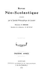 Revue néo-scolastique: Numéros41à44