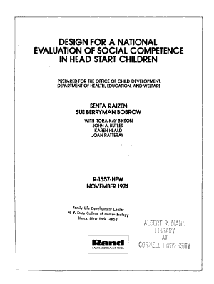 Design for a National Evaluation of Social Competence in Head Start Children