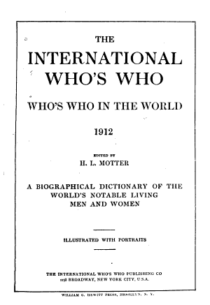 Who's Who in the World, 1912