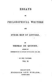 De Quincey's Writings: Philosophical writers and other men of letters