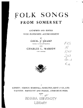 Folk Songs from Somerset: Gathered and Edited with Pianoforte Accompaniment