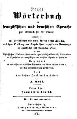 Neues w  rterbuch der franz  sischen und deutschen sprache     PDF