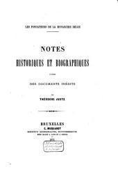 Notes historiques et biographiques d'après des documents inédits