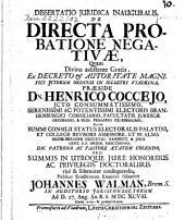 Dissertatio Iuridica inauguralis, De directa probatione negativae