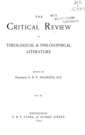 The Critical Review of Theological   Philosophical Literature