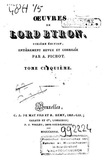 Download   uvres de Lord Byron Book