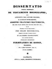 Dissertatio juridica inauguralis de testamento holographo