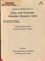 American Standard Sizes of Clay and Concrete Modular Masonry Units PDF