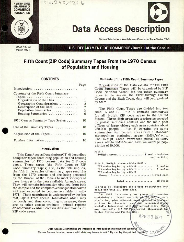 Fifth Count (zip Code) Summary Tapes from the 1970 Census of Population and Housing