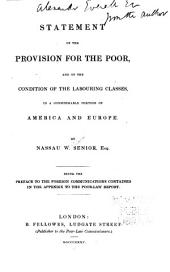 Statement of the Provision for the Poor, and of the Condition of the Labouring Classes, in a Considerable Portion of America and Europe