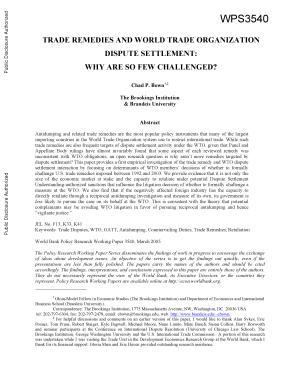 Trade Remedies and World Trade Organization Dispute Settlement PDF