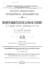Budapest székesföváros statisztikai közlemenyei ...: 39-41. kötet