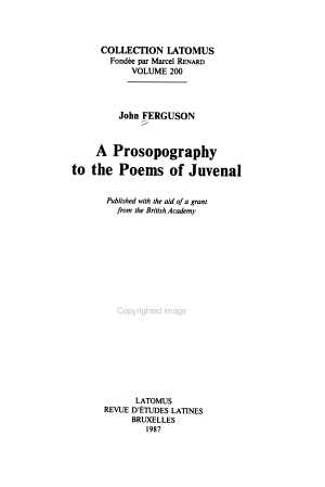 A Prosopography to the Poems of Juvenal