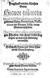 Fragstuck von der Kirchen Gottes hieuor zu latein ... beschrieben, Anjetzo aber vertautscht durch Joachim Laudoldt