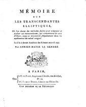 Mémoire sur les transcendantes elliptiques