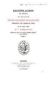 Recopilacion en metro del bachiller Diego Sanchez de Badajoz: Volumen 1