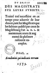 Du Droit des magistrats sur leurs subiets... [par Th. de Bèze]