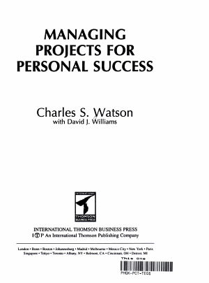 Managing Projects for Personal Success PDF