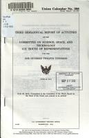 Semiannual Report of Activities of the Committee on Science  Space  and Technology  U S  House of Representatives for the     Congress PDF