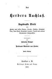 Aus Herders Nachlass: Ungedruckte Briefe von Herder und dessen Gattin, Goethe, Schiller ... Herausgegeben von Heinrich Düntzer und Ferdinand Gottfried von Herder, Band 2