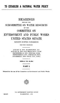 To establish a national water policy PDF