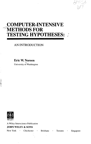 Computer-Intensive Methods for Testing Hypotheses