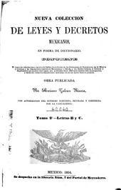 Nueva colección de leyes y decretos mexicanos: Letras B y C