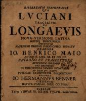 Diss. inaug. qua Luciani tractatum de longaevis nova versione latina notisque philologicis instructum exponit