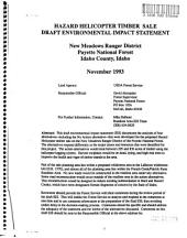 Payette National Forest (N.F.), Hazard Helicopter Timber Sale: Environmental Impact Statement