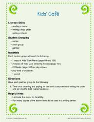 Economics Literacy Activity Kids Cafe Book PDF