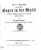 Die Kunst des reinen Satzes in der Musik aus sicheren Grundsätzen hergeleitet und mit deutlichen Beyspielen erläutert (etc.)