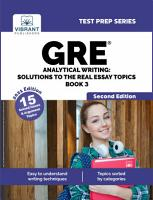 GRE Analytical Writing  Solutions to the Real Essay Topics   Book 3  Second Edition  PDF