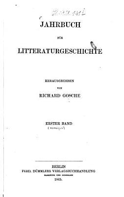 Jahrbuch f  r Litteraturgeschichte PDF