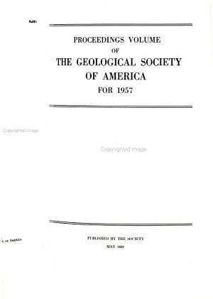 Proceedings Volume of the Geological Society of America Incorporated PDF
