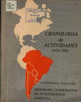 Cronologia de Actividades Del Programa Cooperativo de Investigacion Agricola Convenio PDF