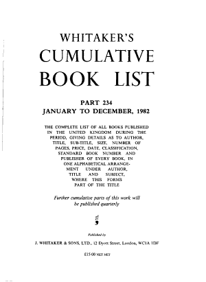 Whitaker's Cumulative Book List