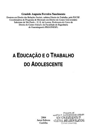 A educa    o e o trabalho do adolescente PDF