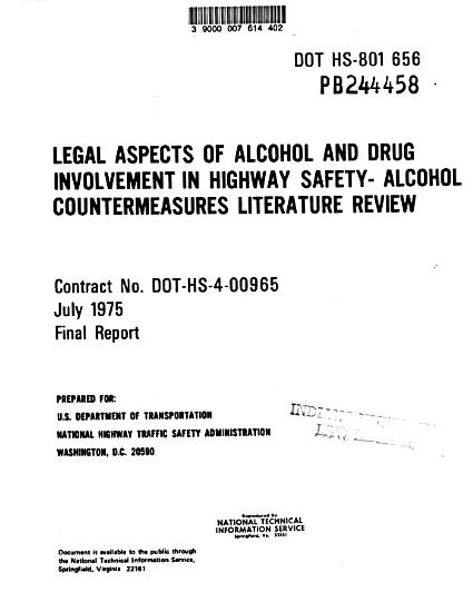 Legal Aspects of Alcohol and Drug Involvement in Highway Safety  alcohol Countermeasures Literature Review PDF