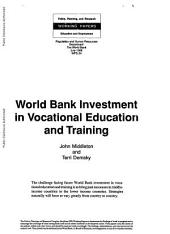 World Bank Investment in Vocational Education and Training: Issue 24