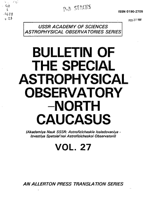 Bulletin of the Special Astrophysical Observatory North Caucasus