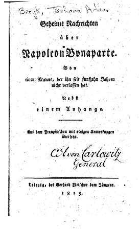 Geheime Nachrichten   ber Napoleon Bonaparte PDF