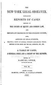 The New-York Legal Observer: Volume 11