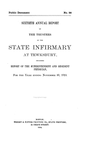 Annual Report of the Trustees of the State Infirmary at Tewksbury: Volume 60